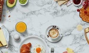 咖啡与吐司等食物样机元素分层素材