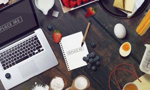 桌上的水果等贴图模板元素分层素材