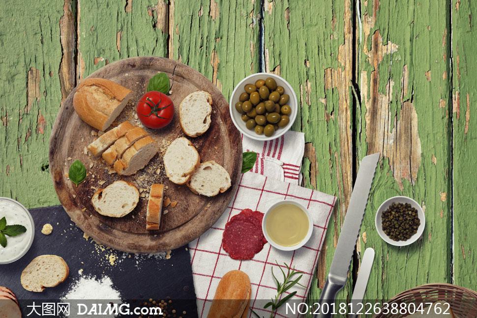 面包与番茄等日常食物样机元素素材