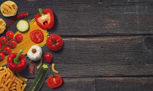 番茄辣椒与意面等食材样机元素素材