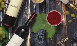 桌上酒瓶标签与葡萄等贴图效果模板