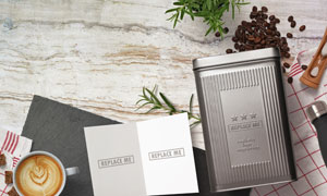 咖啡与卡片等物品贴图元素分层素材
