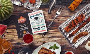 刀叉餐具与烧烤食物等贴图元素素材