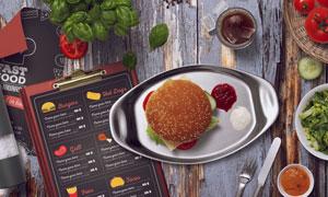 汉堡包与蔬菜沙拉等贴图模板源文件