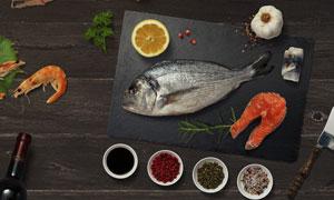 鱼虾与香料等元素贴图模板设计素材