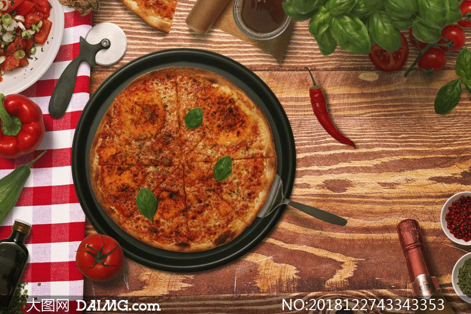 辣椒番茄与披萨等食物样机元素素材