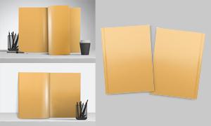 竖着放的书籍内页展示效果贴图模板
