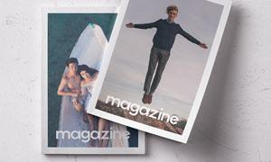 重叠摆放组合杂志画册封面贴图模板