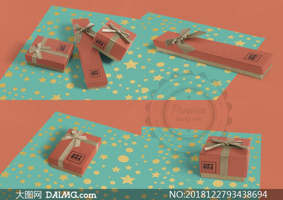 包装纸与礼物包装效果展示贴图模板