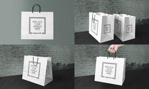 手提式购物袋图案应用效果样机模板