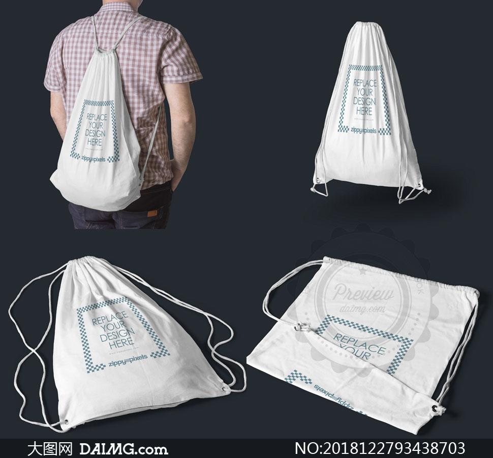 束口布袋双肩包图案应用效果源文件