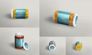 多角度展示的玻璃果酱罐样机源文件