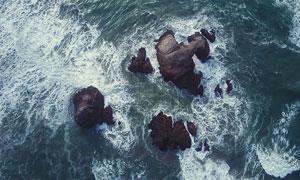 被海水冲刷的礁石鸟瞰摄影高清图片