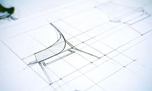 椅子设计草图特写微距摄影高清图片