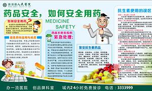医院药品安全宣传展板矢量素材
