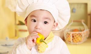 厨师打扮的小男孩人物摄影高清图片