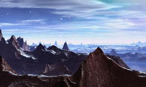 一座座山峰与绚丽云彩摄影高清图片