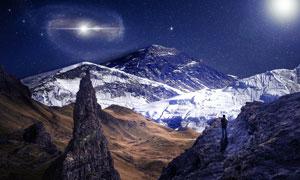 星空下的雪山景观风光摄影高清图片