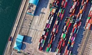 航拍角度海边港口风光摄影高清图片