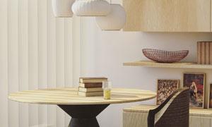 房间茶几椅子与吊灯等布置高清图片