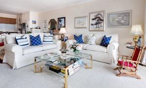沙发茶几躺椅与装饰画摄影高清图片