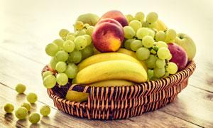 桃子葡萄与香蕉等水果摄影高清图片