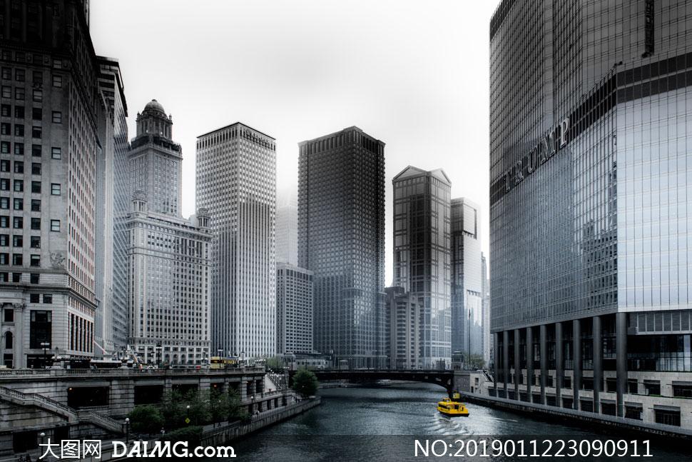 河两岸的城市建筑风光摄影高清图片