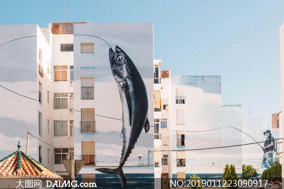 城市楼房外墙插画创意摄影高清图片