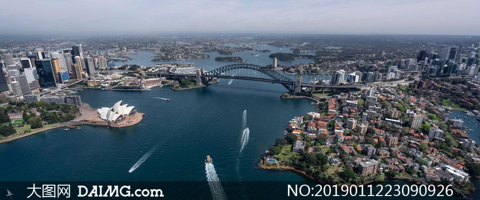 悉尼港湾大桥与歌剧院摄影高清图片