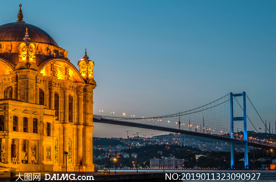 建筑物与大桥景观风光摄影高清图片