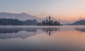 黄昏湖光山色自然风景摄影高清图片