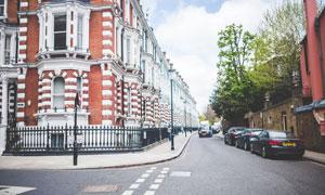 城市红白色彩建筑风光摄影高清图片