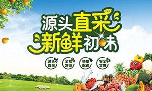 超市新鲜水果宣传吊旗设计PSD素材