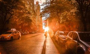城市路上迎着阳光的骑车人高清图片