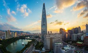 首爾樂天世界大廈風光攝影高清圖片