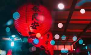 挂着美好祝福的红灯笼摄影高清图片