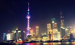 炫丽光效的东方明珠塔摄影高清图片