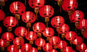 新加坡天福宮大紅燈籠攝影高清圖片