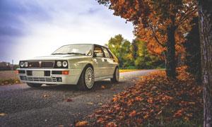 秋天落叶与复古风汽车摄影高清图片