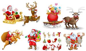 圣诞老人与拉雪橇的驯鹿等矢量素材