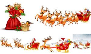 圣诞老人与梅花鹿礼物创意矢量素材