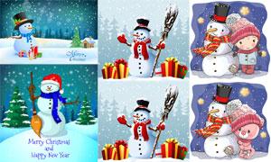可爱卡通风格儿童与雪人等矢量素材