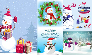 礼物盒与雪人元素创意设计矢量素材