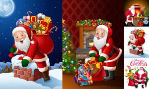 送礼物的圣诞老人创意设计矢量素材