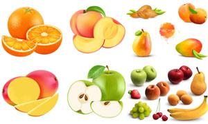 苹果芒果与桃子等逼真水果矢量素材