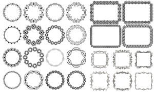 方形与圆形的黑白花纹边框矢量素材