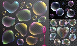 炫丽多彩梦幻泡泡元素设计矢量素材