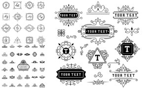 黑白花纹图案与装饰边框等矢量素材