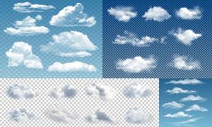 形态各异白色云朵创意设计矢量素材