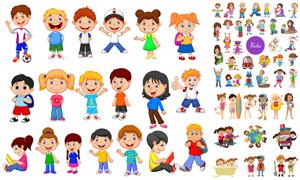 多款卡通風格兒童人物主題矢量素材